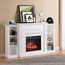 Chantilly Bookcase Infrared Fireplace - White