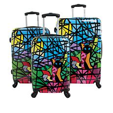 Chariot Glass Hardside 3-piece Luggage Set