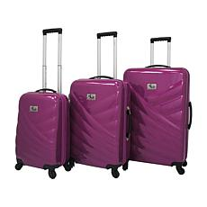 Chariot Veneto 3-piece Spinner Hard-sided Luggage Set - Violet