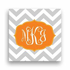 "Chevron Monogram Personalized Canvas - 12"" x 12"""