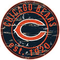 Chicago Bears Round Distressed Sign