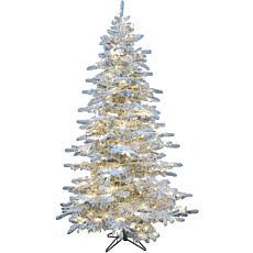 Christmas Time 6.5' Silverado Flocked Slim Christmas Tree w White LEDs
