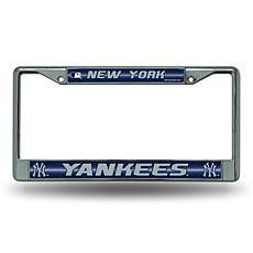 Chrome License Plate Frame w/Bling - New York Yankees