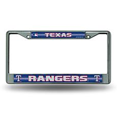 Chrome License Plate Frame with Bling - Texas Rangers