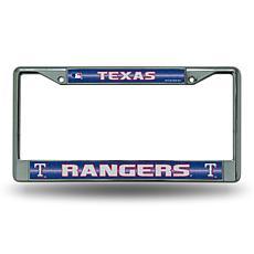 Chrome License Plate Frame with Bling - Texas Rangers