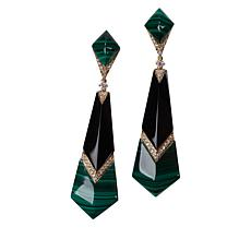 Cirari 14K Gold Malachite, Onyx and Diamond Drop Earrings