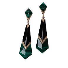 Cirari 14K Gold Malachite, Onyx and Diamond Drop Earrings
