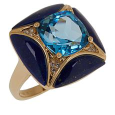 Cirari 14K Gold Swiss Blue Topaz, Lapis and Diamond Ring