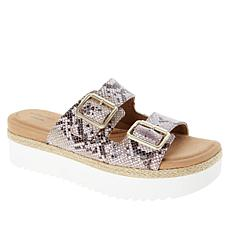 Clarks Collection Lana Beach Leather 2-Band Platform Slide