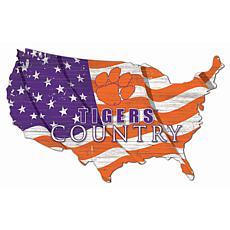 Clemson University USA Shape Flag Cutout