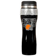 Cleveland Browns Black Stainless Steel Bling Travel Tum