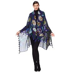 Clever Carriage Botanical Floral Print Wrap