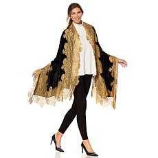 Clever Carriage Handappliqued Velvet and Lace Scarf