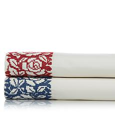 Clever Carriage Home 100% Cotton Cross Stitch Sheet Set