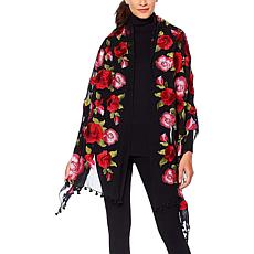 Clever Carriage Stop & Smell The Roses Embroidered Silk Scarf