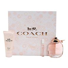 Coach Floral Ladies Set 3oz. Eau De Parfum/3.4oz Lotion/ Rollerball