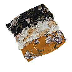 Collection 18 3pk Reusable 2-Layer Face Coverings with Attached Scarf