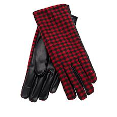 Collection 18 Faux Leather Buffalo Plaid Gloves