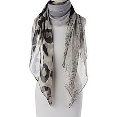 Collection 18 Patchwork Animal-Print Square Scarf