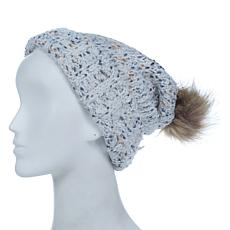 Collection 18 Popcorn Knit Faux Fur Pompom Beanie