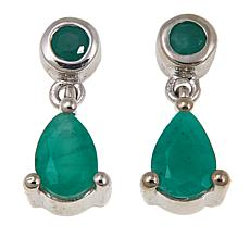 Colleen Lopez 0.79ct Sakota Emerald Sterling Silver Drop Earrings