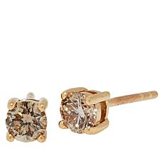 Colleen Lopez 10K Gold .5ct Champagne Diamond Stud Earrings