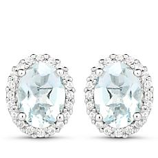 Colleen Lopez 1.5ctw Oval Aquamarine and White Zircon Stud Earrings