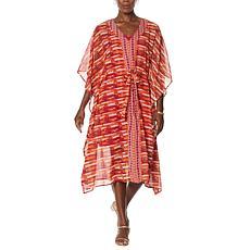 Colleen Lopez 2-piece Printed Midi Caftan Dress with Slip