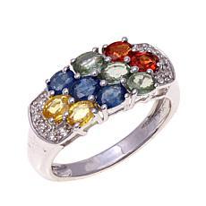 Colleen Lopez 2.15ctw Multi Sapphire 3-Row Band Ring
