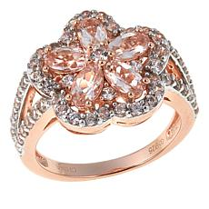 Colleen Lopez 2.25ctw Morganite and White Zircon Flower Ring