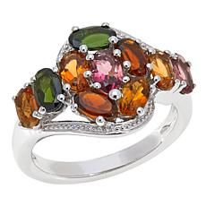 Colleen Lopez 2.4ctw Multicolor Tourmaline Cluster Ring