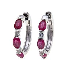 Colleen Lopez 2.82ctw Burmese Ruby & Gem Hoop Earrings