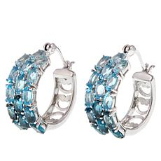 Colleen Lopez 3-Row Ombré Gemstone Hoop Earrings