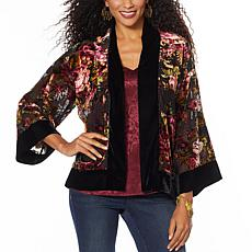 Colleen Lopez 3/4-Sleeve Burnout Velvet Topper