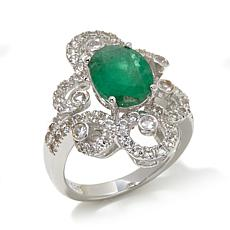 Colleen Lopez 3.41ctw Emerald and White Topaz Ring