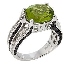 Colleen Lopez 4.90ctw Peridot, Black Spinel and White Zircon Ring