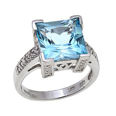 Colleen Lopez 5.08ctw Princess-Cut Blue Topaz Ring