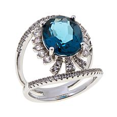 Colleen Lopez 5.74ctw London Blue Topaz and Zircon Ring