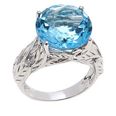 Colleen Lopez 8ctw Round Blue Topaz Ring