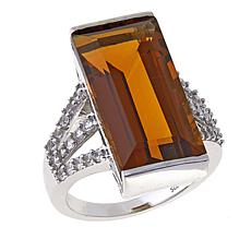 Colleen Lopez 9.51ctw Whiskey Quartz and Zircon Ring