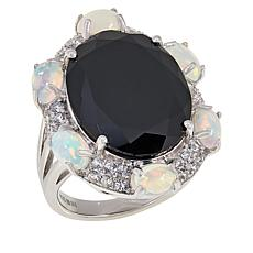 Colleen Lopez Black Spinel, Ethiopian Opal and White Zircon Ring