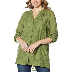 Colleen Lopez Burnout Jacquard Tunic Top with Cami