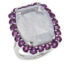 Colleen Lopez Concave Fire Moon Quartz and Garnet Ring