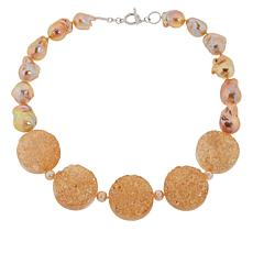 Colleen Lopez Cultured Freshwater Pearl and Drusy Quartz Necklace