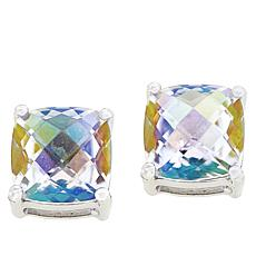 Colleen Lopez Cushion-Cut White Rainbow Quartz Stud Earrings