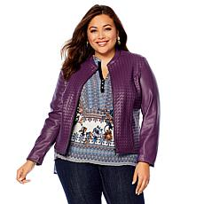 Colleen Lopez Dream Weaver Faux Leather Woven Jacket
