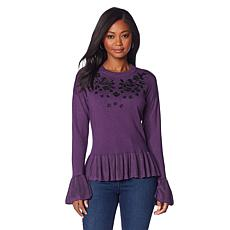 Colleen Lopez Embellished Bell-Sleeve Sweater