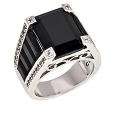 Colleen Lopez Emerald-Cut Black Spinel and White Topaz Ring