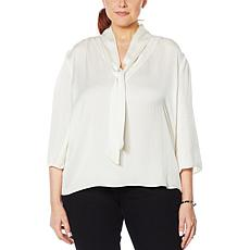 Colleen Lopez Ethereal Satin Tie-Neck Blouse