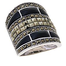 Colleen Lopez Gem and Marcasite Sterling Silver Ring